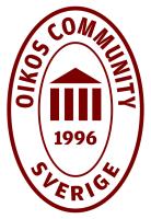OIKOS Community 1996 – Oval logga vinröd