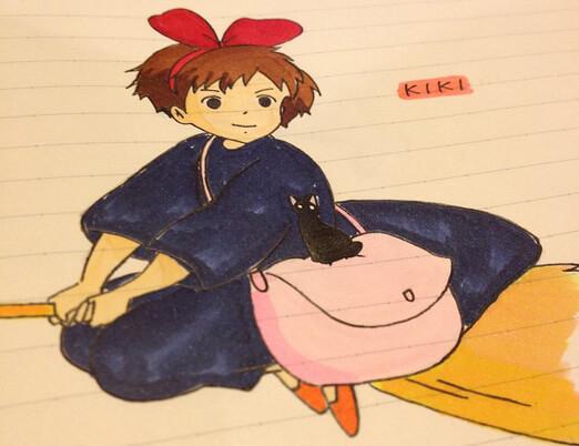 Kiki fån filmen Kikis expressbud av Studio Ghibli. Konstnär: okänd