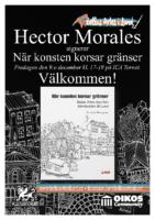 A4 poster med info om Hector Morales boksignering av När konsten korsar gränser på ICA Tornet.