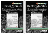 Infoblad (2 st. A5) om Hector Morales boksignering av När konsten korsar gränser på ICA Tornet.